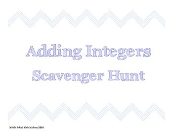 Adding Integers Scavenger Hunt
