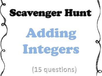 Adding Integers Scavenger Hunt (includes EDITABLE copy)