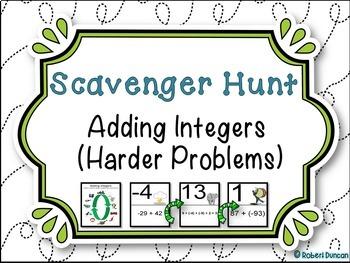Adding Integers - Scavenger Hunt - Harder Problems