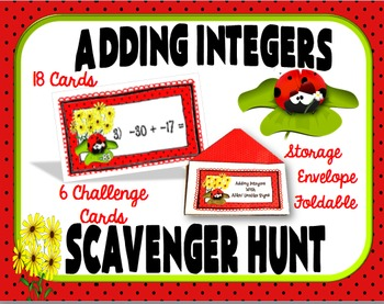 Adding Integers Scavenger Hunt Activity- Plus Storage Enve