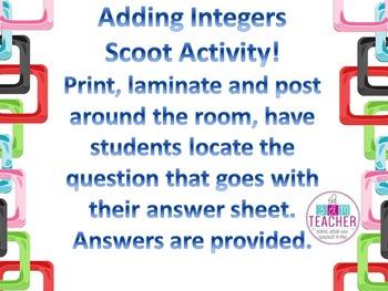 Adding Integers Scoot Activity
