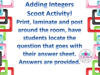Adding Integers Scoot Activity