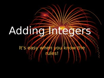 Adding Integers Slide Show