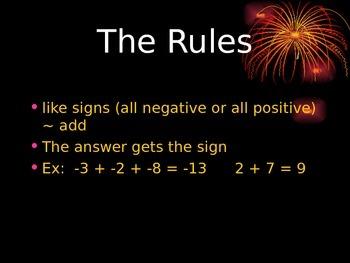 Adding Integers Slide Show