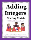 Integer Addition Sorting Matrix CCSS 7.NS.A.1