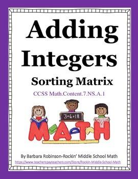 Integer Addition Sorting Matrix CCSS 7.NS.A.1