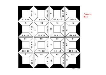 Adding Integers Square Puzzle