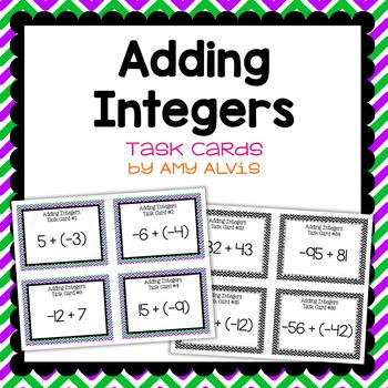 Integer Task Cards Addition