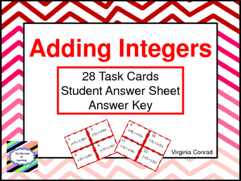 Adding Integers--Task Cards
