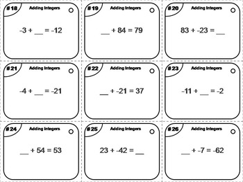Adding Integers Task Cards 5th 6th 7th 8th Grade