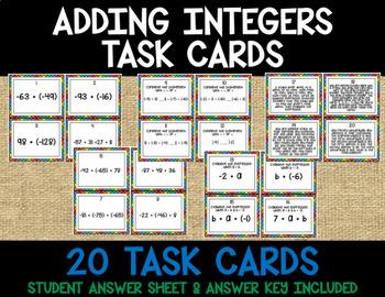 Adding Integers Task Cards