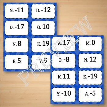 Adding Integers Task Cards Matching Game