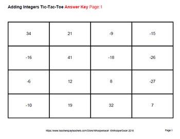 Adding Integers Tic-Tac-Toe