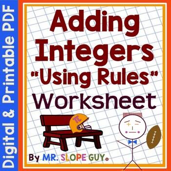 Adding Integers Using Rules PDF Worksheet Go Math 7.NS.A.1