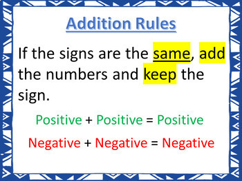 Adding Integers (Using Rules) PowerPoint Lesson