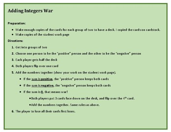 Adding Integers War