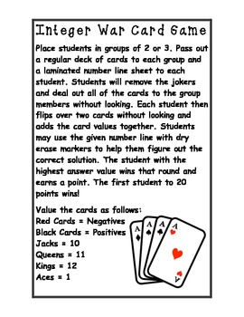 Adding Integers War Card Game Activity with Comparing!!!