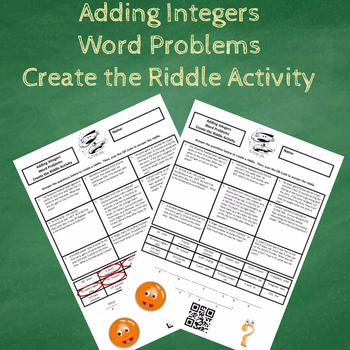 Adding Integers Word Problems Create the Riddle Activity