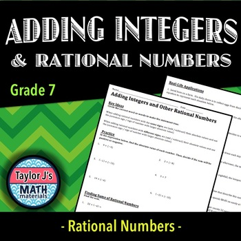 Adding Integers and Other Rational Numbers Worksheet