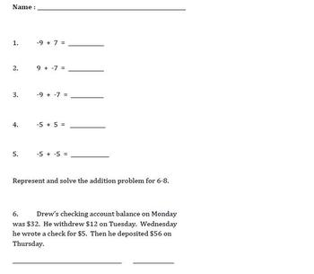 Adding Integers and Rational Numbers - Common Core Quiz