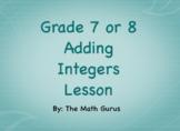 Adding Integers and Zero Principle Lesson