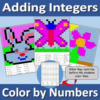 Adding Integers - color by numbers - bunny, butterfly, and flower