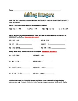 Adding Integers (poem and review sheet)