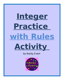 Adding Integers practice with Rules