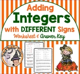 Adding Integers with DIFFERENT Signs Worksheet Word Problems w/ Answer KEY