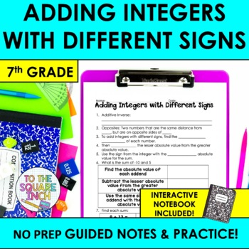 Adding Integers with Different Signs Notes