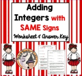 Adding Integers with SAME Signs Worksheet with Answer KEY Word Problems