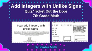 Adding Integers with Unlike Signs Quiz/Ticket Out the Door