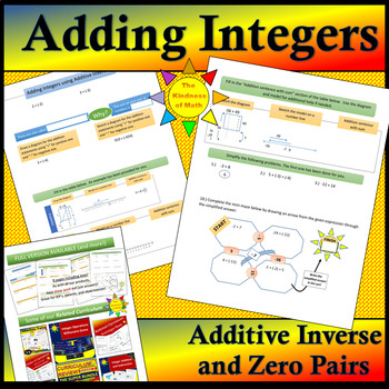 Integer Addition: Adding Integers with Zero Pairs, Diagrams, and Number Lines