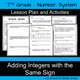 7th Grade Math-Number System-Adding Integers with the Same Sign-CCSS Aligned