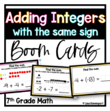Adding Integers with the Same Sign BOOM™ Digital Task Cards