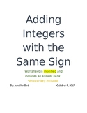 Adding Integers with the Same Sign- Modified with an Answer Bank