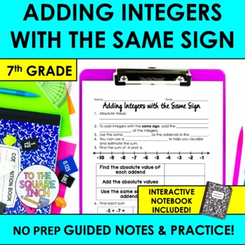 Adding Integers with the Same Sign Notes