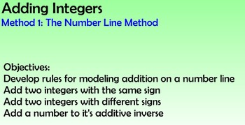 Adding Intgers - Number Line Method