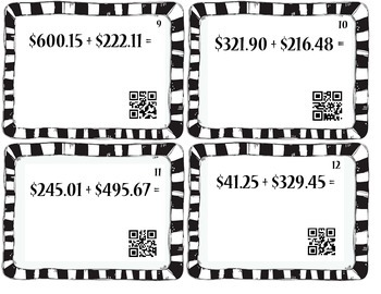 Adding Large Amounts of Money with Regrouping.  QR Codes Included!