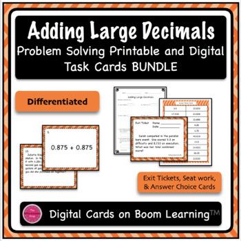 Adding Large Decimals Task Card and Boom Card Deck MEGA Bundle