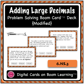 Adding Large Decimals Word Problem Boom Card Deck {With Visual Supports}