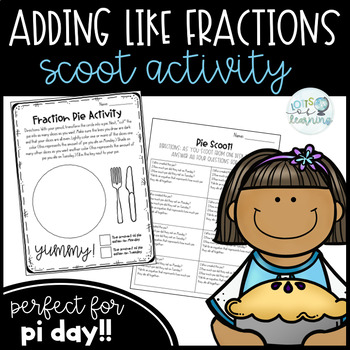 Adding Like Factions Scoot Activity (Perfect for Pi Day in Fourth Grade!)