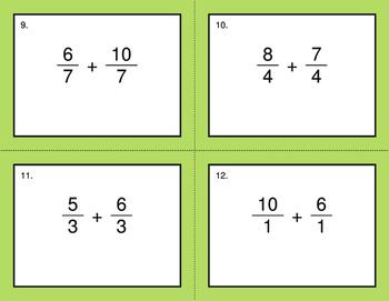 Adding Like Fractions - BINGO and Task Cards