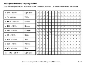 Adding Like Fractions - Color-By-Number Math Mystery Pictures