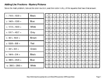 Adding Like Fractions - Color-By-Number Mystery Pictures