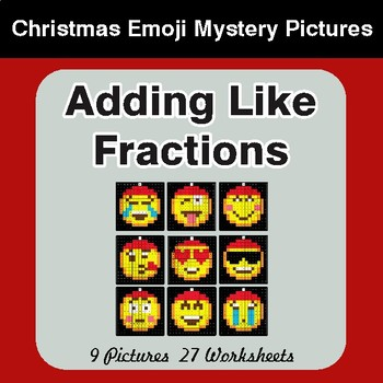 Adding Like Fractions - Color-By-Number Christmas Math Mystery Pictures
