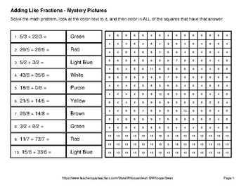 Christmas: Adding Like Fractions - Color-By-Number Math Mystery Pictures