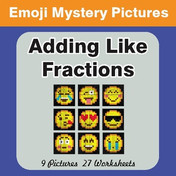 Adding Like Fractions EMOJI Math Mystery Pictures