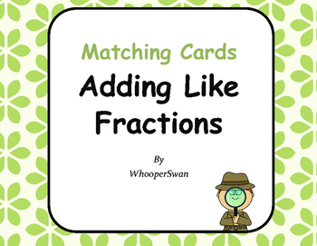 Adding Like Fractions Matching Cards