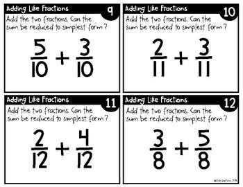 Adding Like Fractions Task Cards